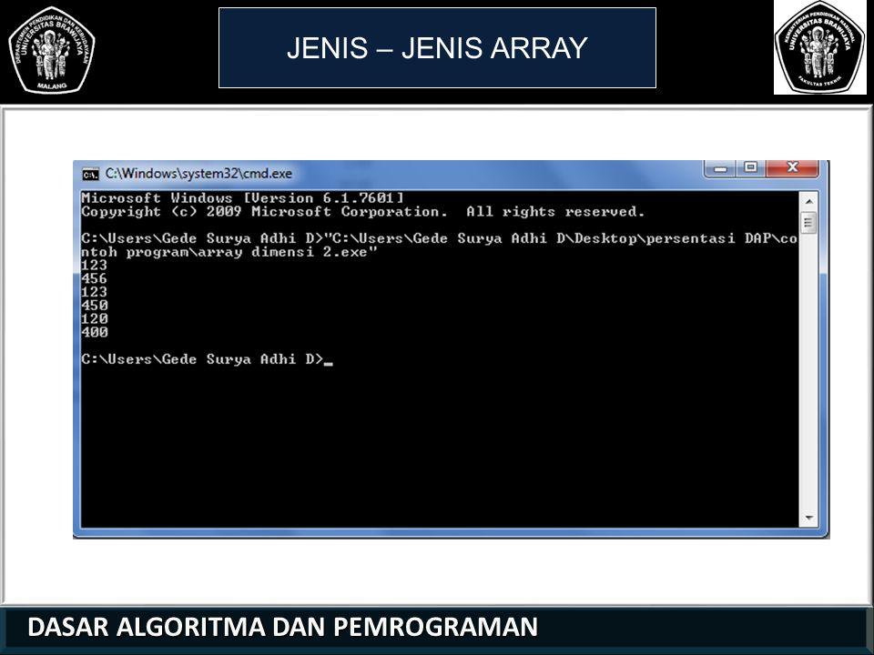 DASAR ALGORITMA DAN PEMROGRAMAN DASAR ALGORITMA DAN PEMROGRAMAN JENIS – JENIS ARRAY 21 01 0