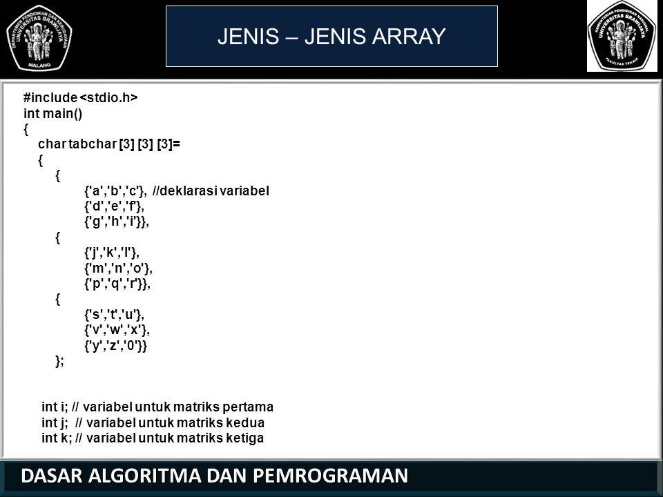 DASAR ALGORITMA DAN PEMROGRAMAN DASAR ALGORITMA DAN PEMROGRAMAN JENIS – JENIS ARRAY 21 01 0 #include int main() { char tabchar [3] [3] [3]= { { a , b , c }, //deklarasi variabel { d , e , f }, { g , h , i }}, { { j , k , l }, { m , n , o }, { p , q , r }}, { { s , t , u }, { v , w , x }, { y , z , 0 }} }; int i; // variabel untuk matriks pertama int j; // variabel untuk matriks kedua int k; // variabel untuk matriks ketiga