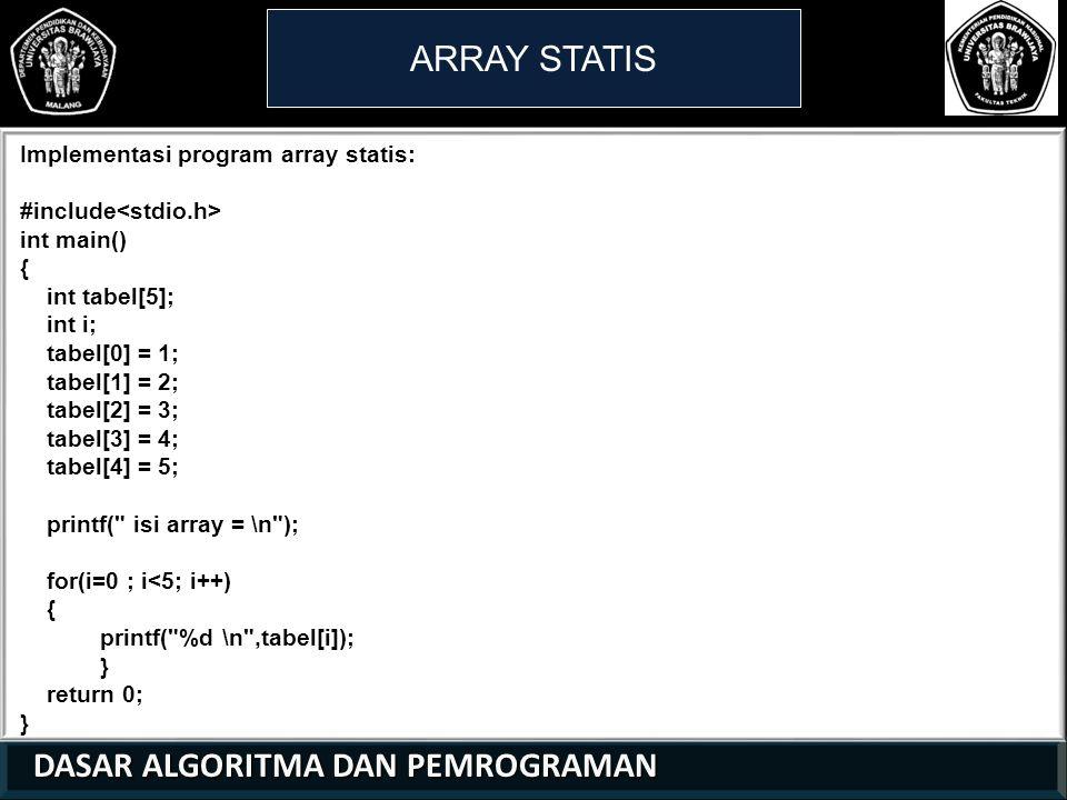 DASAR ALGORITMA DAN PEMROGRAMAN DASAR ALGORITMA DAN PEMROGRAMAN ARRAY STATIS 21 01 0 Implementasi program array statis: #include int main() { int tabel[5]; int i; tabel[0] = 1; tabel[1] = 2; tabel[2] = 3; tabel[3] = 4; tabel[4] = 5; printf( isi array = \n ); for(i=0 ; i<5; i++) { printf( %d \n ,tabel[i]); } return 0; }