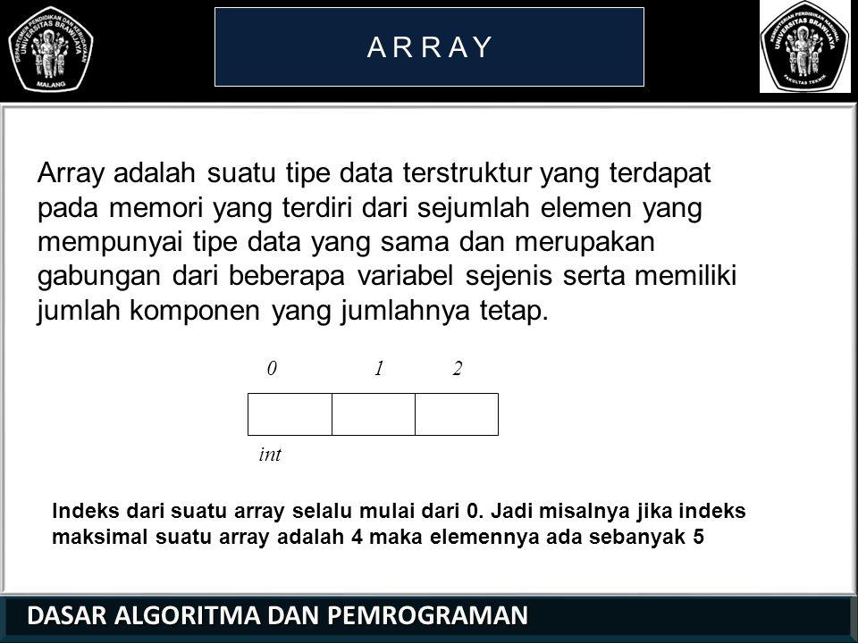 DASAR ALGORITMA DAN PEMROGRAMAN DASAR ALGORITMA DAN PEMROGRAMAN A R R A Y DEKLARASI ARRAY Array dalam pendeklarasiannya sama sperti variabel biasa, harus di dideklarasikan sebelum digunakan.