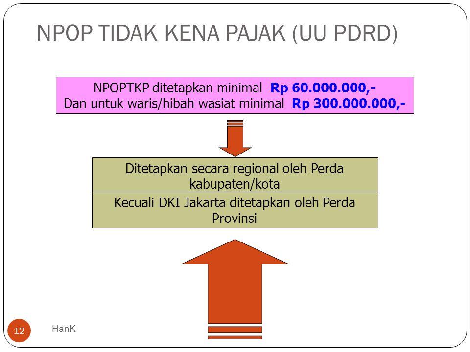 NPOP TIDAK KENA PAJAK (UU PDRD) 12 NPOPTKP ditetapkan minimal Rp 60.000.000,- Dan untuk waris/hibah wasiat minimal Rp 300.000.000,- Ditetapkan secara