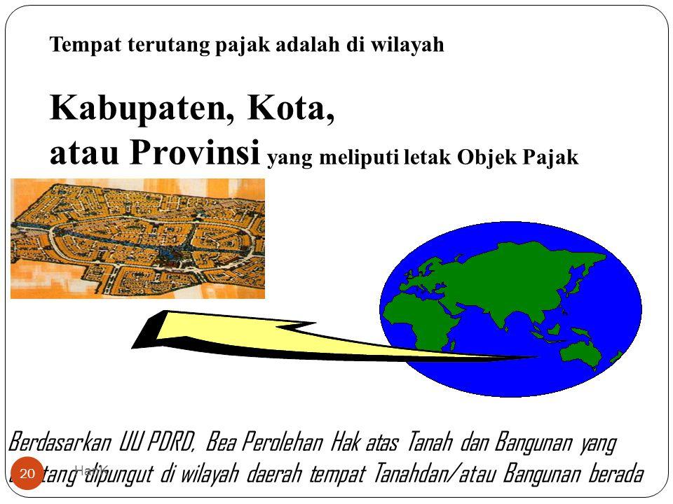 Tempat terutang pajak adalah di wilayah Kabupaten, Kota, atau Provinsi yang meliputi letak Objek Pajak Berdasarkan UU PDRD, Bea Perolehan Hak atas Tan
