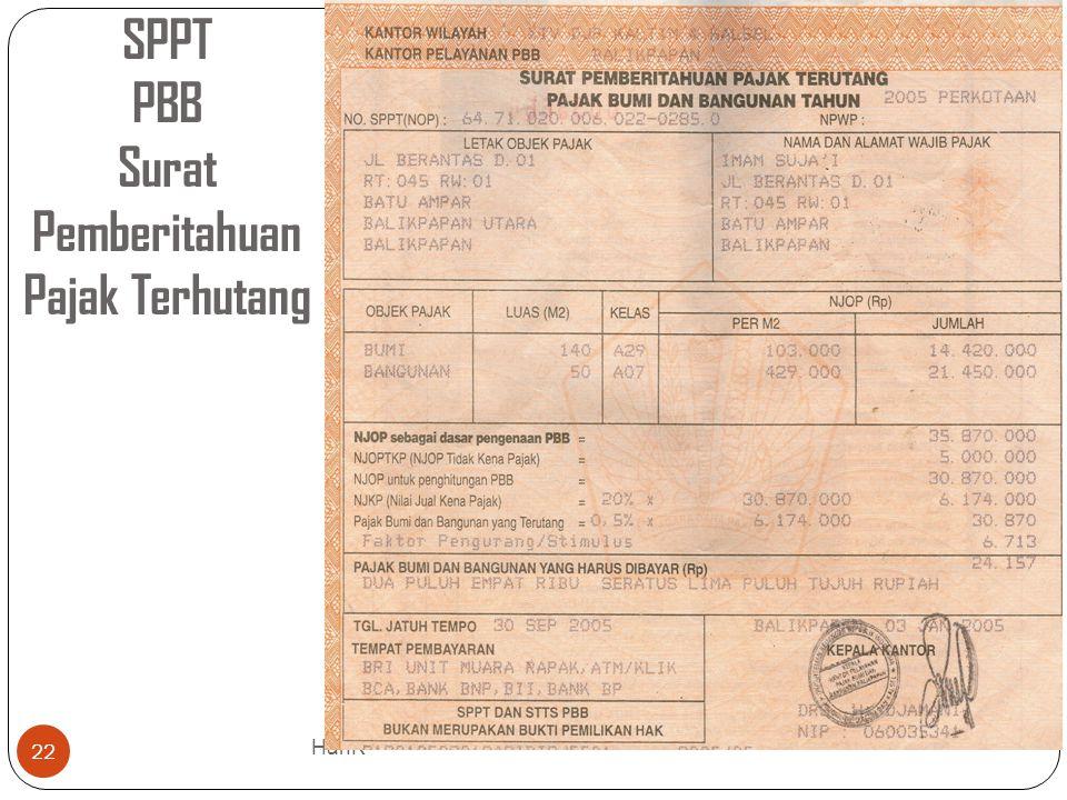 SPPT PBB Surat Pemberitahuan Pajak Terhutang 22