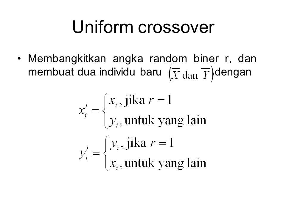 Uniform crossover Membangkitkan angka random biner r, dan membuat dua individu baru dengan