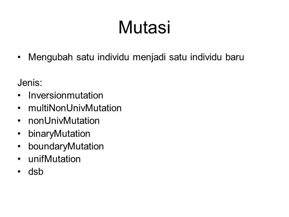 Mutasi Mengubah satu individu menjadi satu individu baru Jenis: Inversionmutation multiNonUnivMutation nonUnivMutation binaryMutation boundaryMutation unifMutation dsb