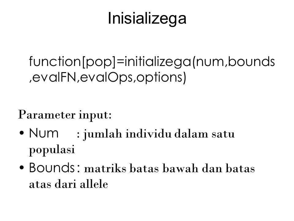 Tugas untuk minggu depan Buatlah fungsi Single point crossover (int,bin) Multipoint crossover (int,bin) Uniform crossover (int,bin) Single point mutation (int,bin) Double point mutation (int,bin) Uniform mutation (int,bin) Selection (int,bin)