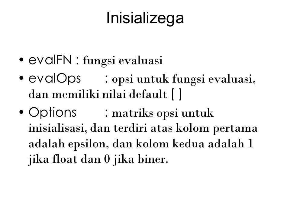 Inisializega evalFN: fungsi evaluasi evalOps: opsi untuk fungsi evaluasi, dan memiliki nilai default [ ] Options: matriks opsi untuk inisialisasi, dan terdiri atas kolom pertama adalah epsilon, dan kolom kedua adalah 1 jika float dan 0 jika biner.