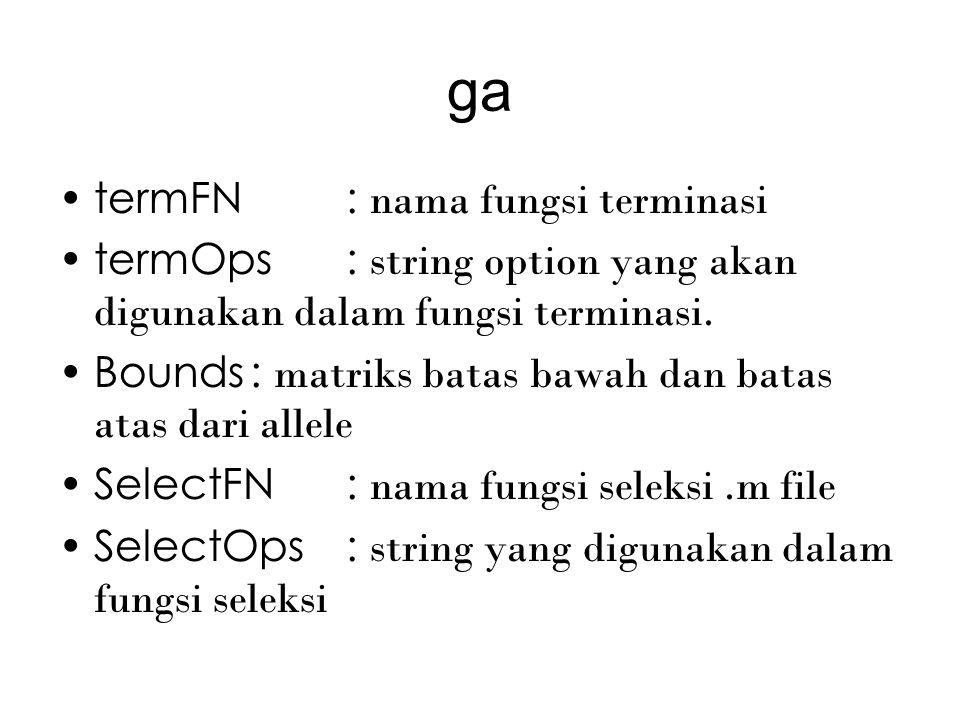 ga xOverFNs: string fungsi crossover xOverOps: matriks parameter crossover mutFNs: string fungsi mutasi mutOps: matriks parameter mutasi
