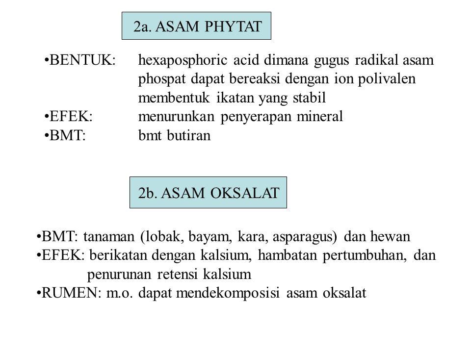 2a. ASAM PHYTAT BENTUK:hexaposphoric acid dimana gugus radikal asam phospat dapat bereaksi dengan ion polivalen membentuk ikatan yang stabil EFEK:menu