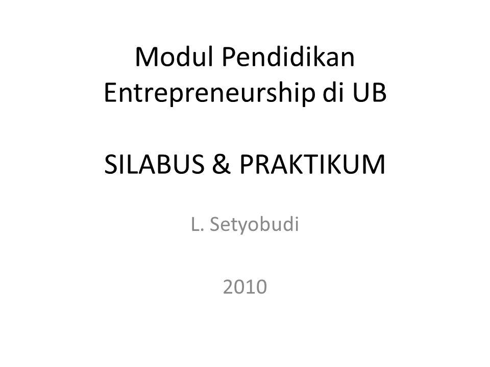 KONTEN PEMBELAJARAN Kuliah (2 sks); Praktikum (1 sks) KULIAH 1.Pendahuluan 2.Menjadi Entrepreneur 3.Motivasi 4.Kreativitas 5.Inovasi 6.Resiko 7.Faktor X / Keberuntungan 8.Mencari Gagasan 9.Manajemen Pelanggan 10.Perencanaan Bisnis PRAKTIKUM 1.Sukses Story Entrepreneur 2.Motivasi 3.Kreativitas dan Inovasi 4.Resiko 5.Mencari Gagasan 6.Manajemen Pelanggan 7.Perencanaan Bisnis 23/08/20102UBEED-LSB EE Sem Ganjl 2010