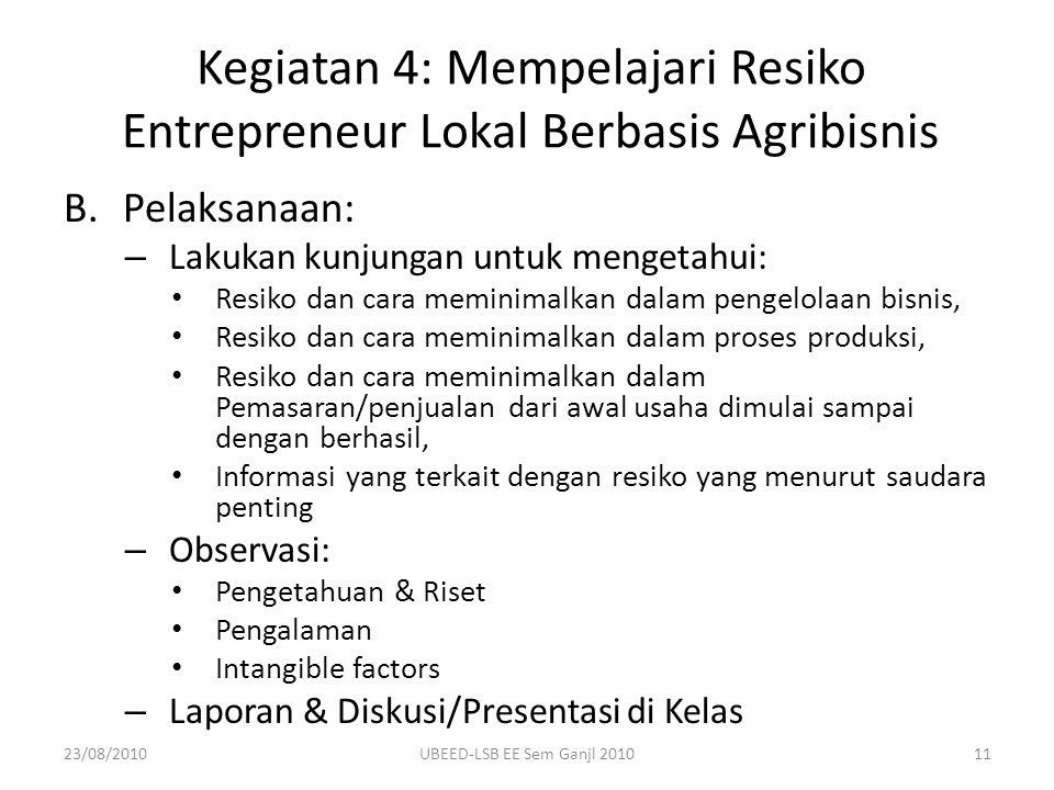 B.Pelaksanaan: – Lakukan kunjungan untuk mengetahui: Resiko dan cara meminimalkan dalam pengelolaan bisnis, Resiko dan cara meminimalkan dalam proses