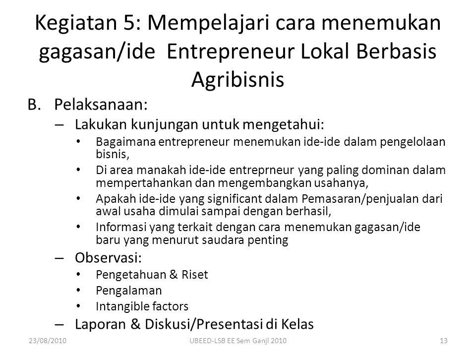 B.Pelaksanaan: – Lakukan kunjungan untuk mengetahui: Bagaimana entrepreneur menemukan ide-ide dalam pengelolaan bisnis, Di area manakah ide-ide entrep