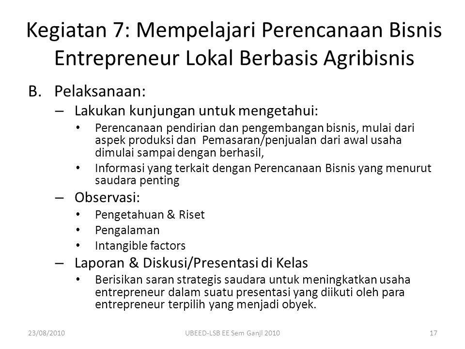 B.Pelaksanaan: – Lakukan kunjungan untuk mengetahui: Perencanaan pendirian dan pengembangan bisnis, mulai dari aspek produksi dan Pemasaran/penjualan