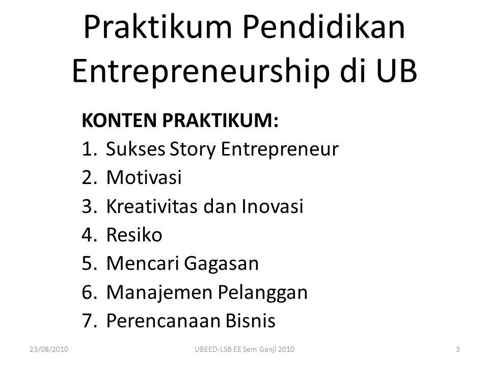 Praktikum Pendidikan Entrepreneurship di UB KONTEN PRAKTIKUM: 1.Sukses Story Entrepreneur 2.Motivasi 3.Kreativitas dan Inovasi 4.Resiko 5.Mencari Gaga