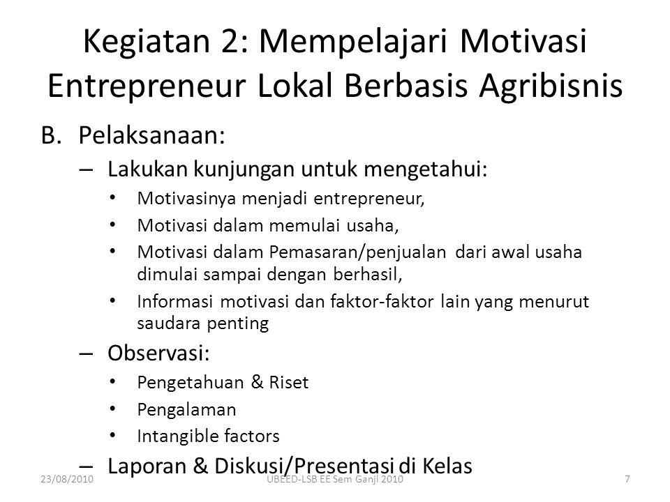 B.Pelaksanaan: – Lakukan kunjungan untuk mengetahui: Motivasinya menjadi entrepreneur, Motivasi dalam memulai usaha, Motivasi dalam Pemasaran/penjuala