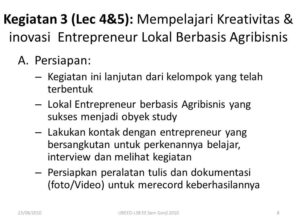 A.Persiapan: – Kegiatan ini lanjutan dari kelompok yang telah terbentuk – Lokal Entrepreneur berbasis Agribisnis yang sukses menjadi obyek study – Lak