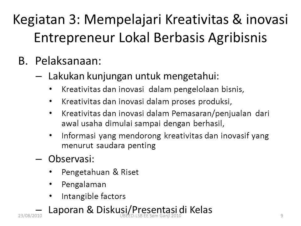 B.Pelaksanaan: – Lakukan kunjungan untuk mengetahui: Kreativitas dan inovasi dalam pengelolaan bisnis, Kreativitas dan inovasi dalam proses produksi,