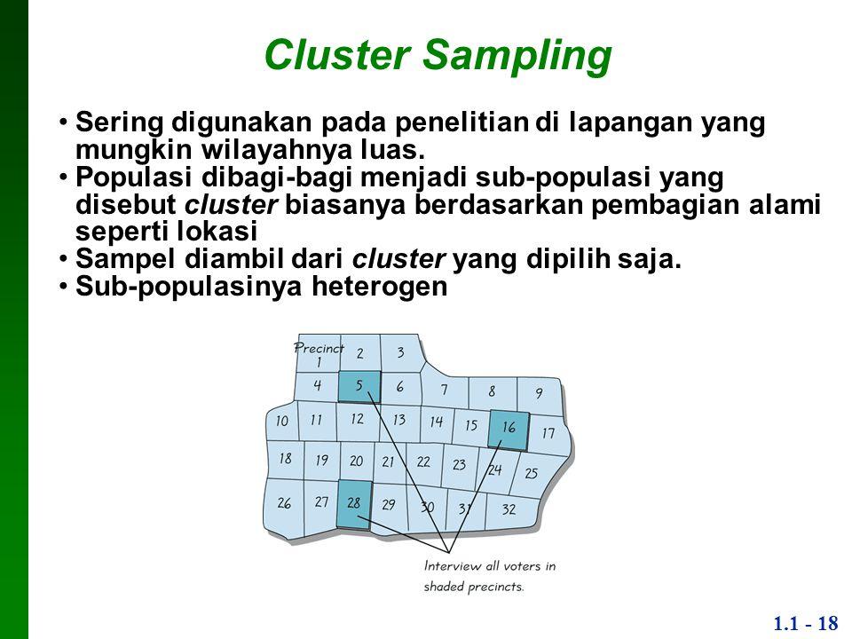 1.1 - 18 Cluster Sampling Sering digunakan pada penelitian di lapangan yang mungkin wilayahnya luas.