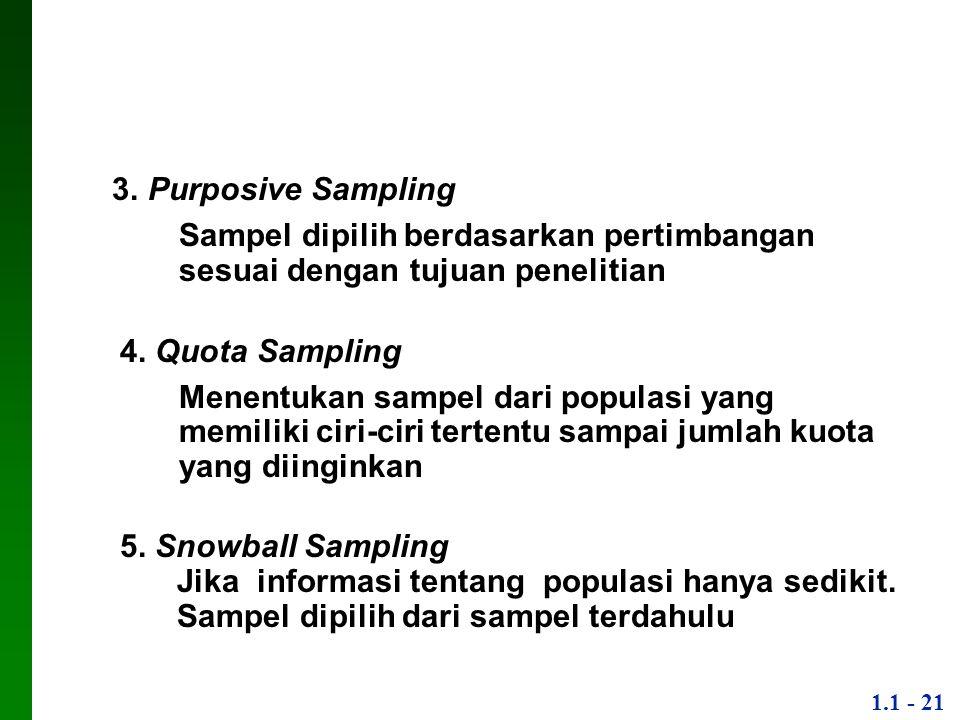1.1 - 21 3. Purposive Sampling ▪Sampel dipilih berdasarkan pertimbangan sesuai dengan tujuan penelitian 4. Quota Sampling ▪Menentukan sampel dari popu