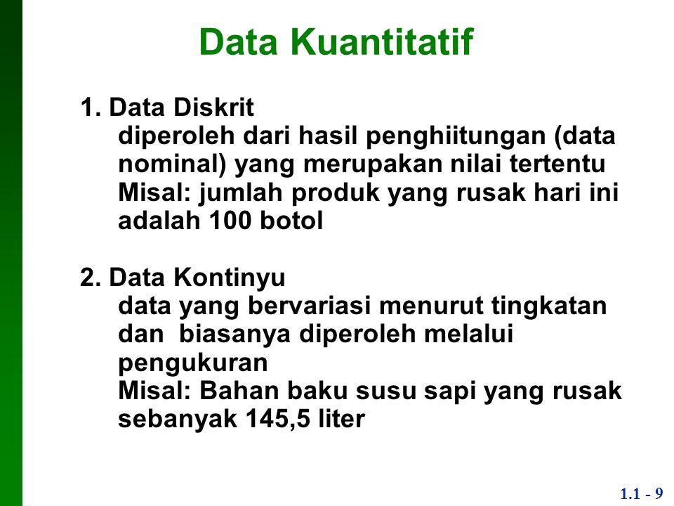 1.1 - 10 Tingkat Pengukuran Data dapat diklasifikasikan berdasarkan tingkat pengukuran: 1.Data Nominal Bentuk paling dasar, objek di kategorikan dalam sebuah kelompok yang unik data tidak dapat disusun sesuai urutan (dari tinggi ke rendah, dll) Misal: jenis ikan (kakap, teri, hiu) 2.Data Ordinal Data dapat disusun dalam sebuah urutan, tetapi perbedaan nilai antar data tidak mempunyai arti Misal: urutan ukuran buah manggis dalam tiga tingkatan (1=kecil, 2=sedang, 3=besar)