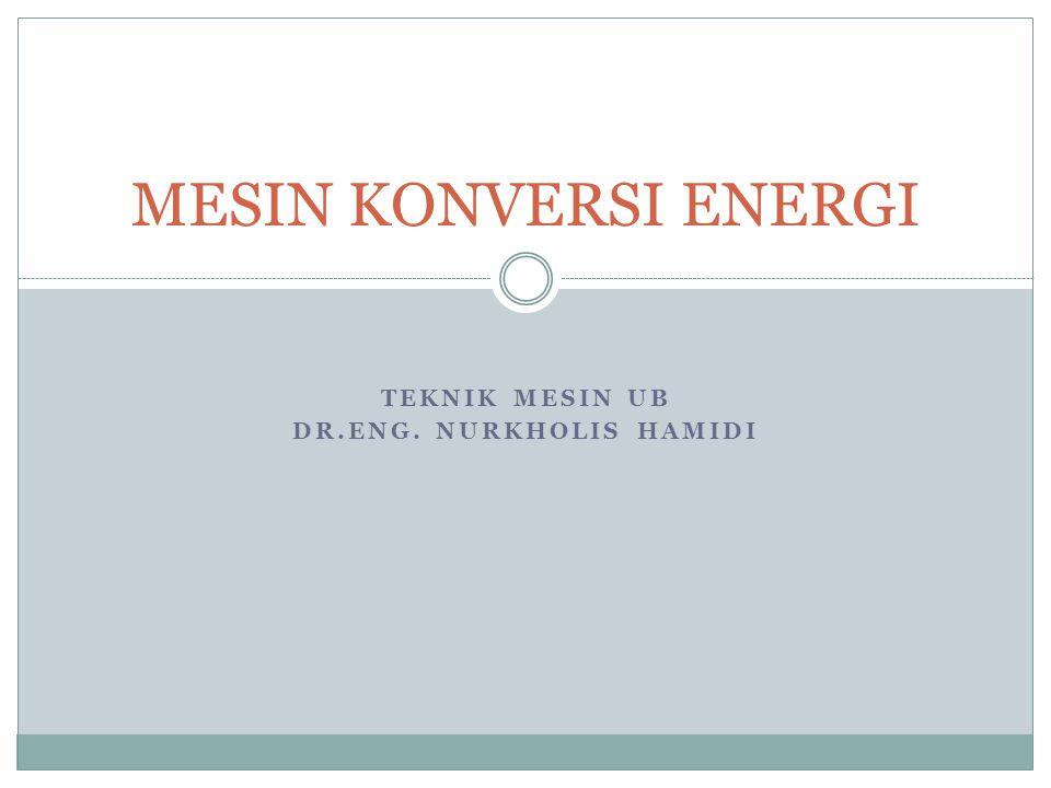TEKNIK MESIN UB DR.ENG. NURKHOLIS HAMIDI MESIN KONVERSI ENERGI