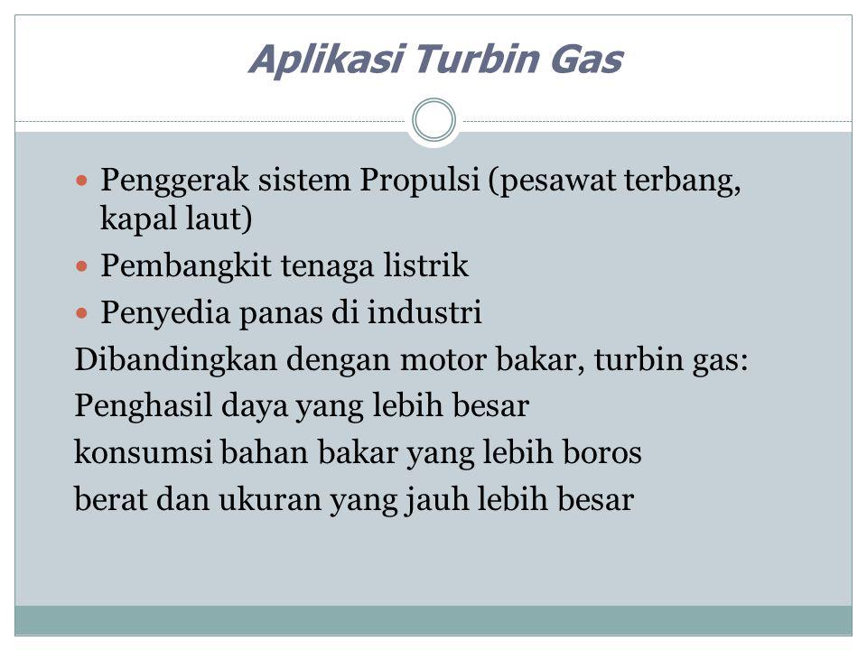 Aplikasi Turbin Gas Penggerak sistem Propulsi (pesawat terbang, kapal laut) Pembangkit tenaga listrik Penyedia panas di industri Dibandingkan dengan m