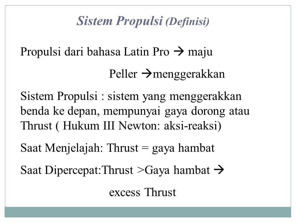 Propulsi dari bahasa Latin Pro  maju Peller  menggerakkan Sistem Propulsi : sistem yang menggerakkan benda ke depan, mempunyai gaya dorong atau Thru