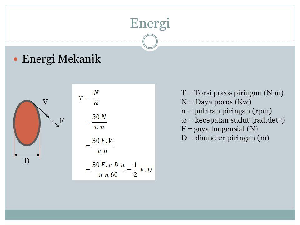 Energi Energi Mekanik F V T = Torsi poros piringan (N.m) N = Daya poros (Kw) n = putaran piringan (rpm) ω = kecepatan sudut (rad.det -1 ) F = gaya tan