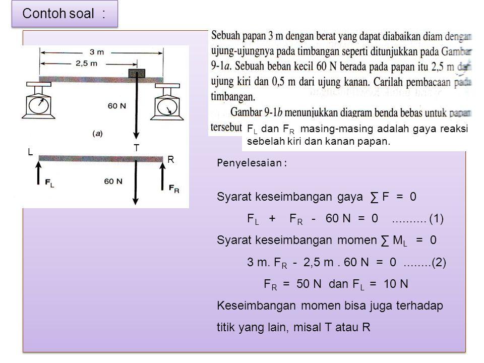 Contoh soal : F L dan F R masing-masing adalah gaya reaksi sebelah kiri dan kanan papan. Penyelesaian : Syarat keseimbangan gaya ∑ F = 0 F L + F R - 6