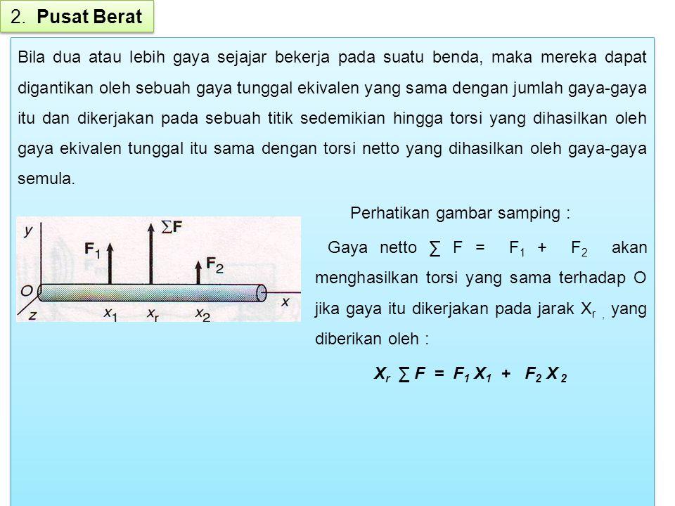 Analogi dengan teori gaya-gaya diatas adalah gaya gravitasi yang bekerja pada berbagai bagian benda dapat diganti oleh gaya tunggal berupa berat benda yang bekerja pada sebuah titik yang disebut pusat berat.