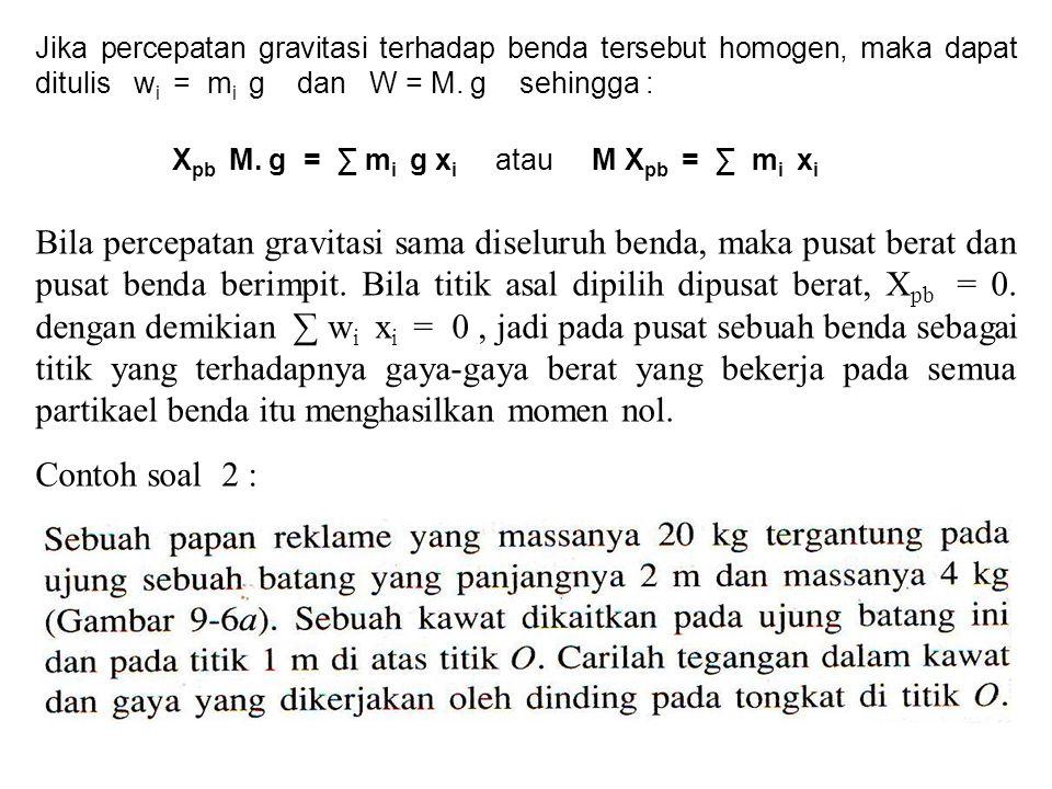 Jika percepatan gravitasi terhadap benda tersebut homogen, maka dapat ditulis w i = m i g dan W = M. g sehingga : X pb M. g = ∑ m i g x i atau M X pb
