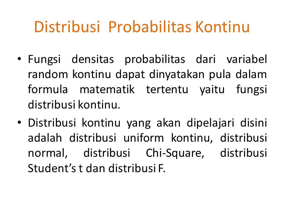 Distribusi Probabilitas Kontinu Fungsi densitas probabilitas dari variabel random kontinu dapat dinyatakan pula dalam formula matematik tertentu yaitu