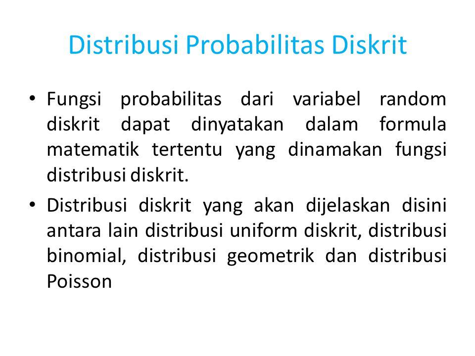 Distribusi Probabilitas Diskrit Fungsi probabilitas dari variabel random diskrit dapat dinyatakan dalam formula matematik tertentu yang dinamakan fung