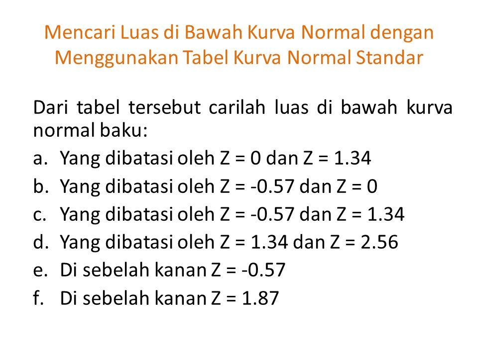 Dari tabel tersebut carilah luas di bawah kurva normal baku: a.Yang dibatasi oleh Z = 0 dan Z = 1.34 b.Yang dibatasi oleh Z = -0.57 dan Z = 0 c.Yang d