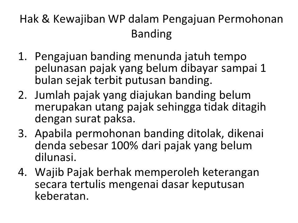Hak & Kewajiban WP dalam Pengajuan Permohonan Banding 1.Pengajuan banding menunda jatuh tempo pelunasan pajak yang belum dibayar sampai 1 bulan sejak