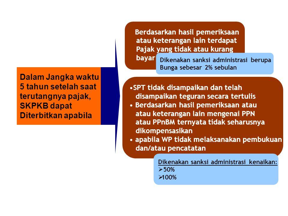 Dalam Jangka waktu 5 tahun setelah saat terutangnya pajak, SKPKB dapat Diterbitkan apabila Berdasarkan hasil pemeriksaan atau keterangan lain terdapat