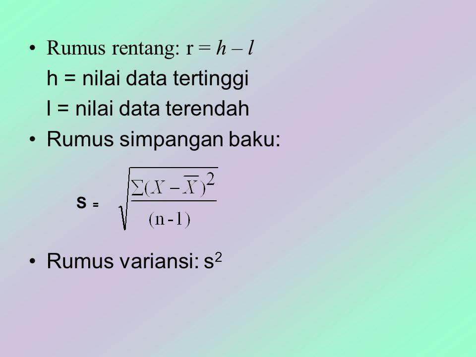 Rumus rentang: r = h – l h = nilai data tertinggi l = nilai data terendah Rumus simpangan baku: Rumus variansi: s 2 S =