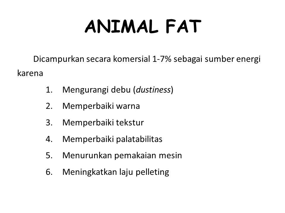 ANIMAL FAT Dicampurkan secara komersial 1-7% sebagai sumber energi karena 1.Mengurangi debu (dustiness) 2.Memperbaiki warna 3.Memperbaiki tekstur 4.Me