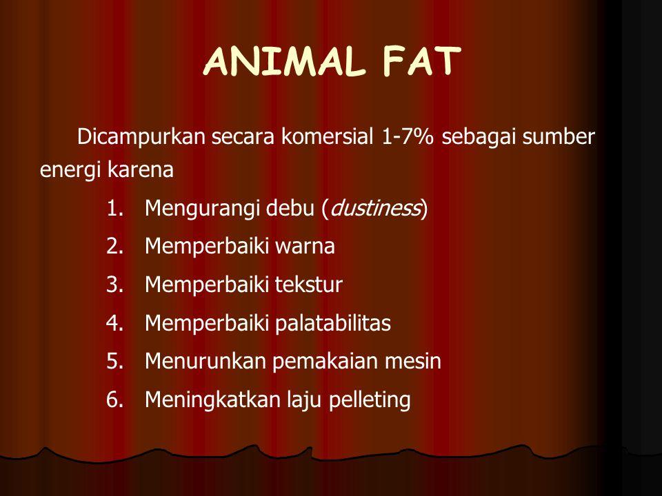 ANIMAL FAT Dicampurkan secara komersial 1-7% sebagai sumber energi karena 1. 1.Mengurangi debu (dustiness) 2. 2.Memperbaiki warna 3. 3.Memperbaiki tek