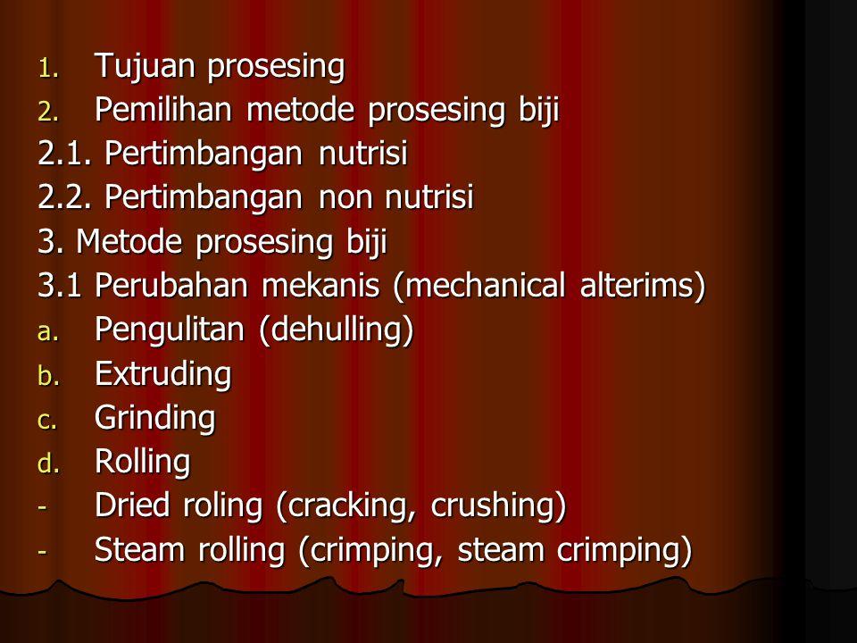 1. Tujuan prosesing 2. Pemilihan metode prosesing biji 2.1. Pertimbangan nutrisi 2.2. Pertimbangan non nutrisi 3. Metode prosesing biji 3.1 Perubahan