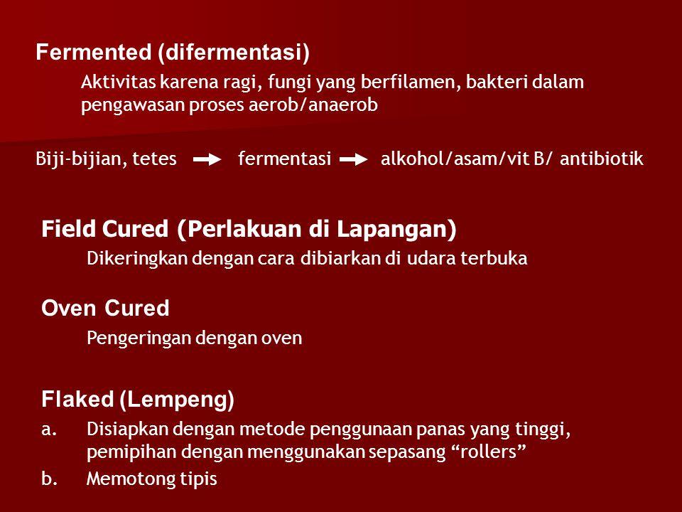 Fermented (difermentasi) Aktivitas karena ragi, fungi yang berfilamen, bakteri dalam pengawasan proses aerob/anaerob Biji-bijian, tetes fermentasi alk