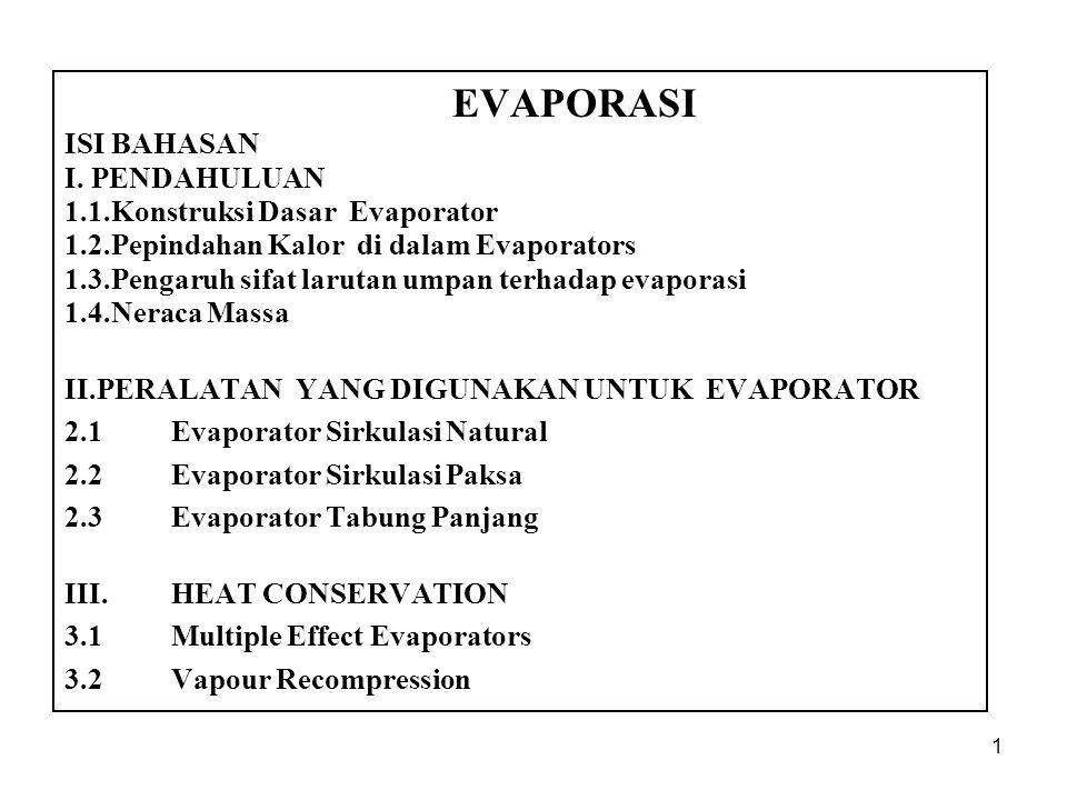 1 EVAPORASI ISI BAHASAN I.