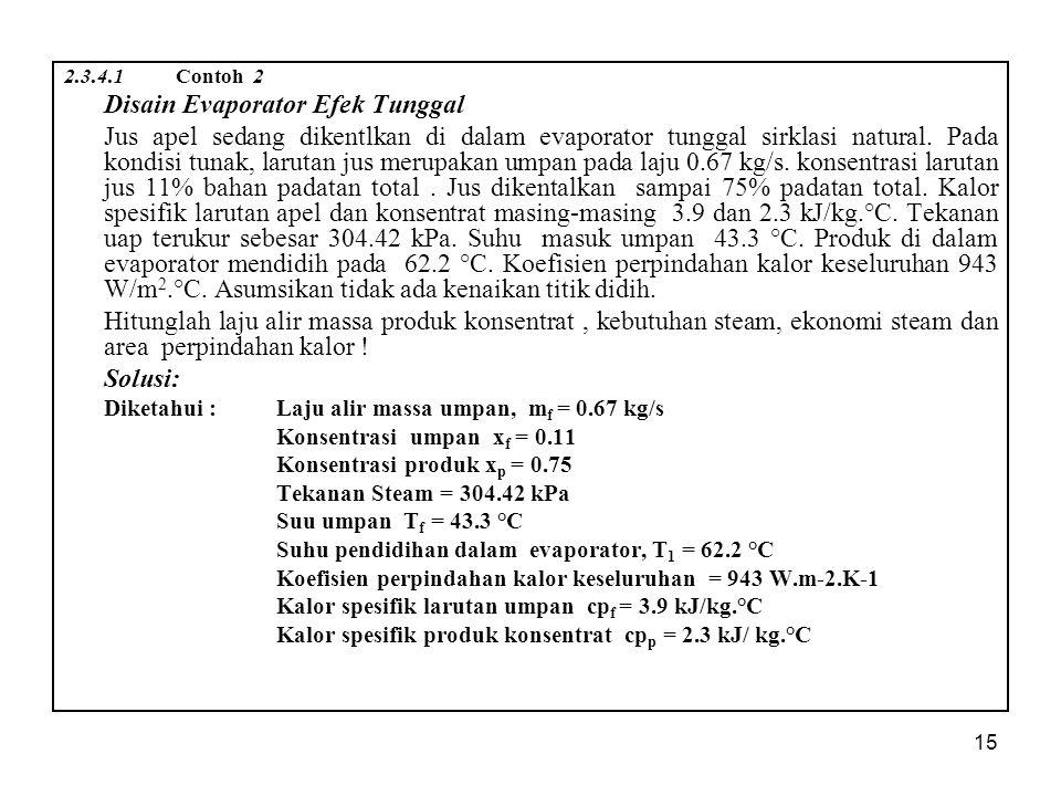 15 2.3.4.1 Contoh 2 Disain Evaporator Efek Tunggal Jus apel sedang dikentlkan di dalam evaporator tunggal sirklasi natural.