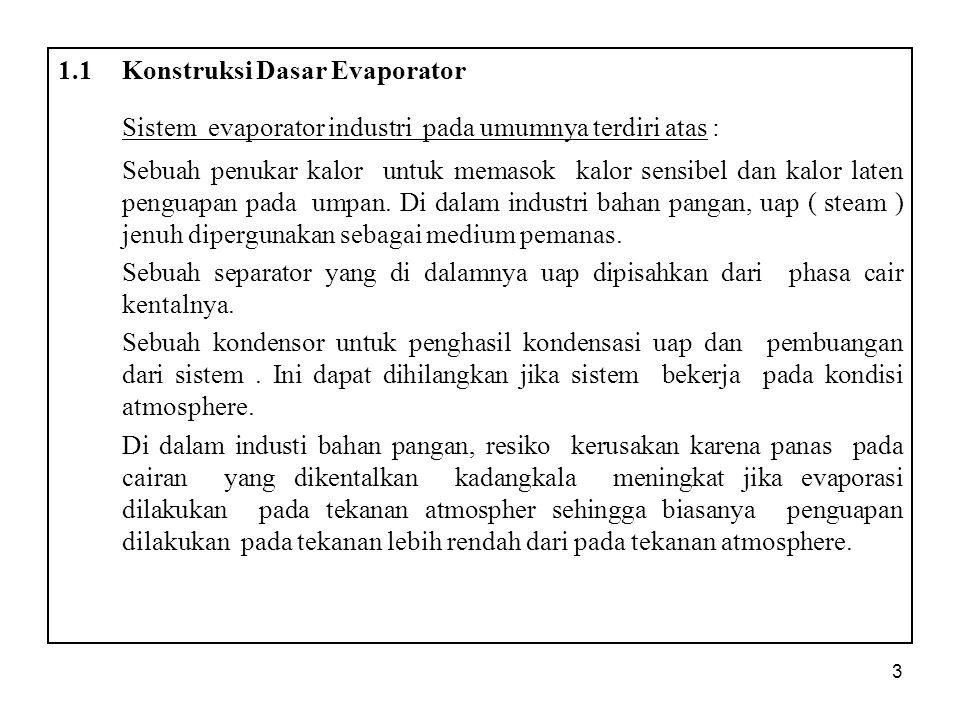 3 1.1Konstruksi Dasar Evaporator Sistem evaporator industri pada umumnya terdiri atas : Sebuah penukar kalor untuk memasok kalor sensibel dan kalor laten penguapan pada umpan.
