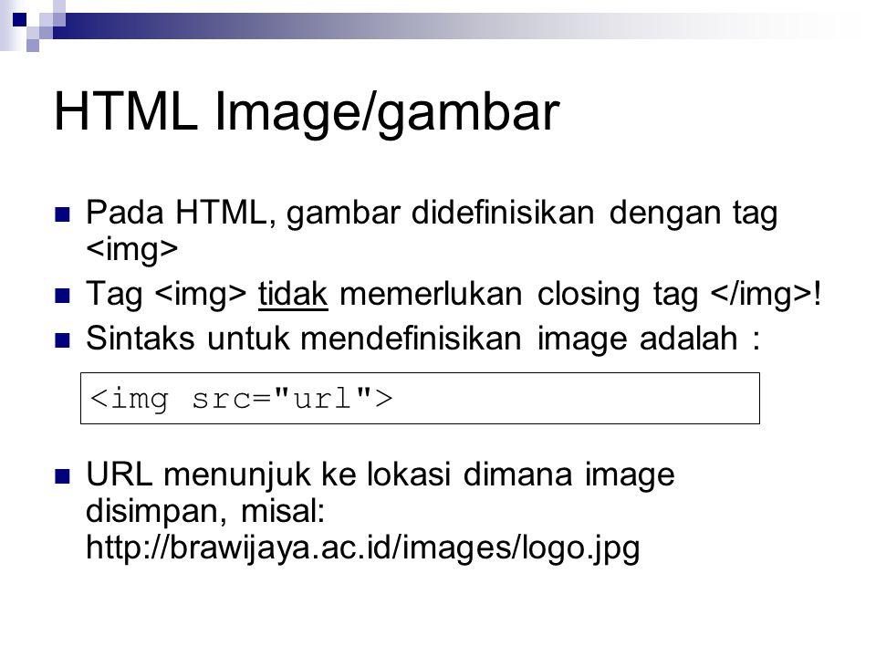 HTML Image/gambar Pada HTML, gambar didefinisikan dengan tag Tag tidak memerlukan closing tag .