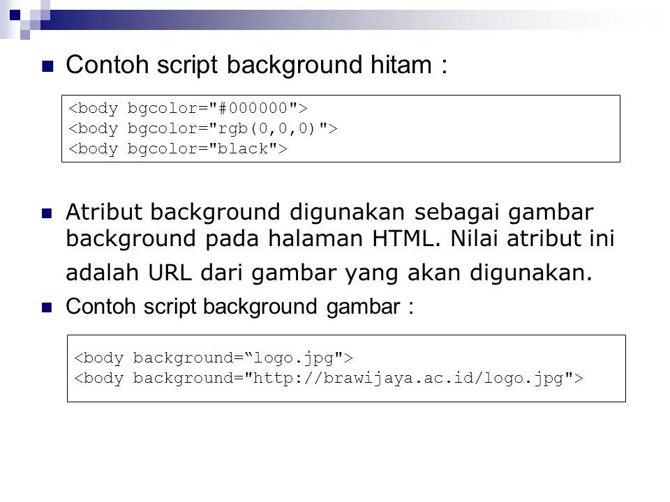 Contoh script background hitam : Atribut background digunakan sebagai gambar background pada halaman HTML.