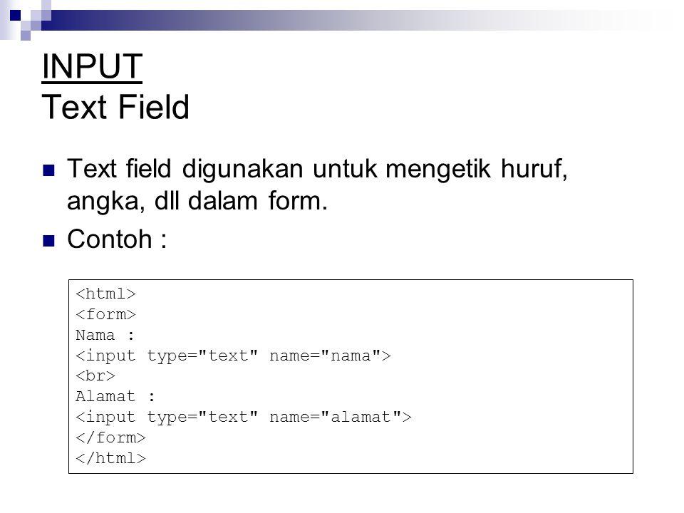 INPUT Text Field Text field digunakan untuk mengetik huruf, angka, dll dalam form.