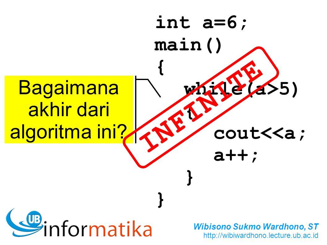 Wibisono Sukmo Wardhono, ST http://wibiwardhono.lecture.ub.ac.id int a=6; main() { while(a>5) { cout<<a; a++; } } Bagaimana akhir dari algoritma ini?