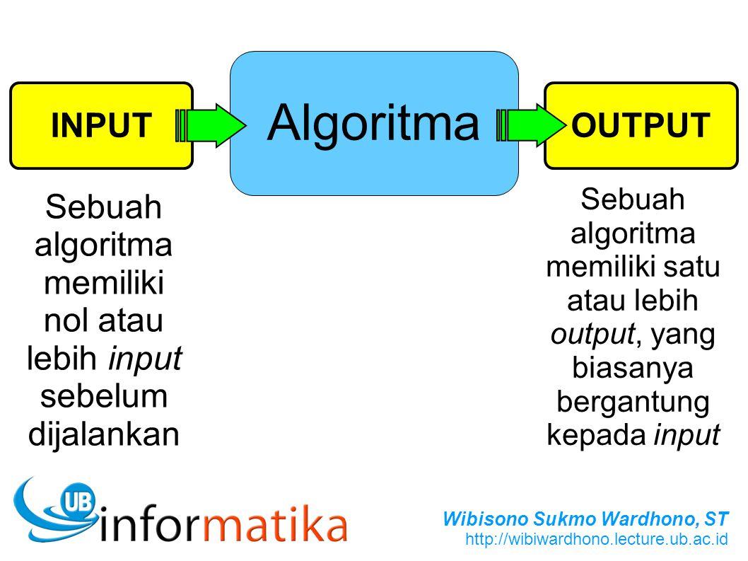 Wibisono Sukmo Wardhono, ST http://wibiwardhono.lecture.ub.ac.id OUTPUT Algoritma INPUT Sebuah algoritma memiliki nol atau lebih input sebelum dijalan