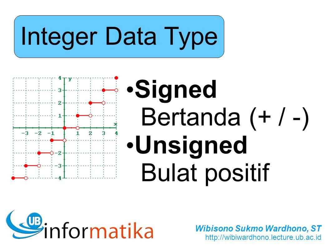 Wibisono Sukmo Wardhono, ST http://wibiwardhono.lecture.ub.ac.id Integer Data Type Signed Bertanda (+ / -) Unsigned Bulat positif
